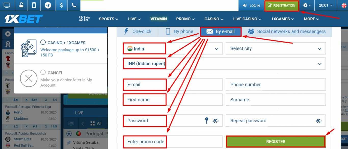 1xBet registration through email.